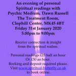 Psychic Mediumship Readings 31st January at the Clophil Center