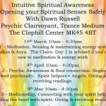 Intuitive Spiritual Awareness 14th March, 4th April & 9th May