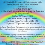 Charity Evening of Clairvoyance 7pm Friday 20th March Clophill Center