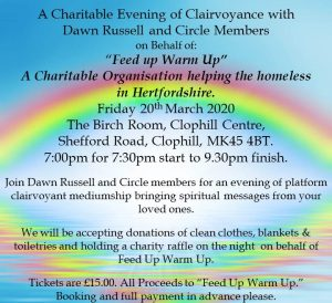 Charity Evening of Clairvoyance 20th March