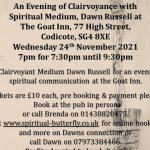 An Evening of Clairvoyance, Goat Pub, Codicote, 24th Nov 2021